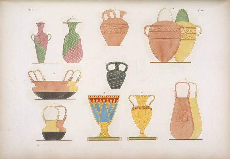 Vasi d'oro, di smalto, e di varie altre materie, figurati nelle tombe tebane. [Egyptian tomb art]