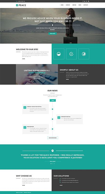 Template 57549 - Peace Business  Responsive Website Template