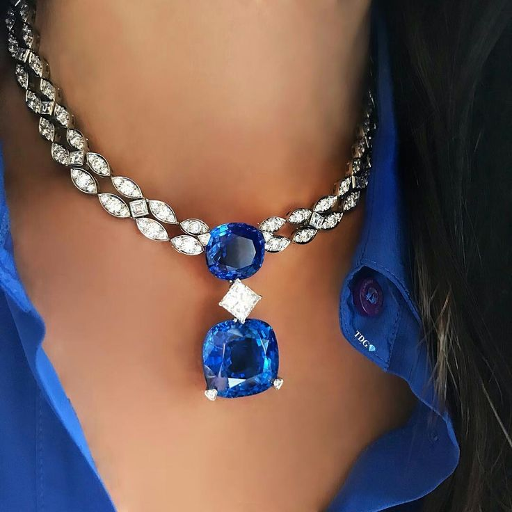 SO RELIEVED TO HACE FINALLY FOUND A NECKLACE THAT MATCHES MY TOP!!!  Seen at @christiesjewels in Geneva, Lot #156 is a #Cartier Ceylon Sapphire and Diamond necklace, and boy is it beautiful!!!! #thediamondsgirl
