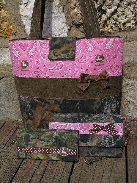 Mossy Oak Camo and Pink Paisley John Deere Purse by purse4you, $67.00
