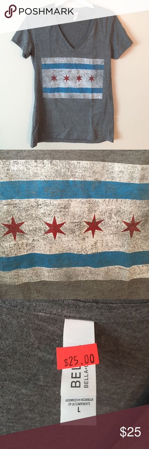 Chicago flag v-neck Rep Chicago pride with this soft and casual v-neck with a Chicago flag print. Brand new, never worn! No trades please. Tops