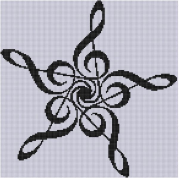Music Star Cross Stitch Pattern