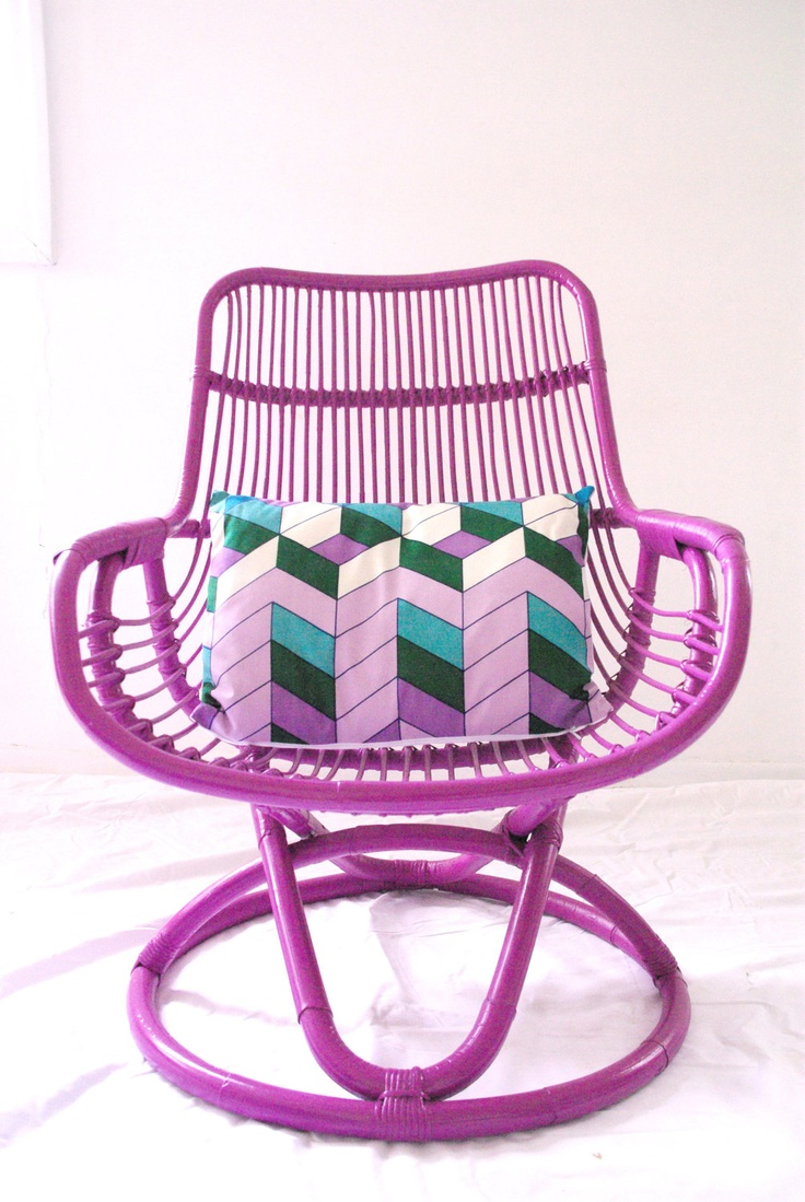 Wonderful Made To Order   Custom Purple Cane Retro Chair With Vintage Cushion.  $350.00, Via