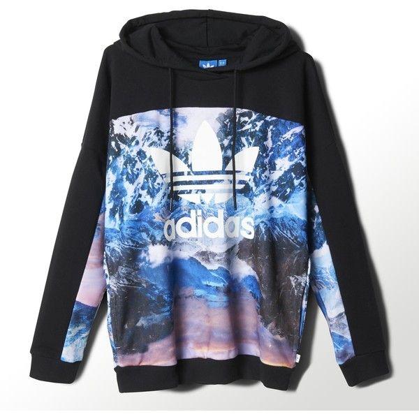Adidas Mountain Clash Hoodie ($35) ❤ liked on Polyvore featuring tops, hoodies, multi, boyfriend girlfriend hoodies, colorblock hoodie, blue hooded sweatshirt, hooded sweatshirt and hooded pullover