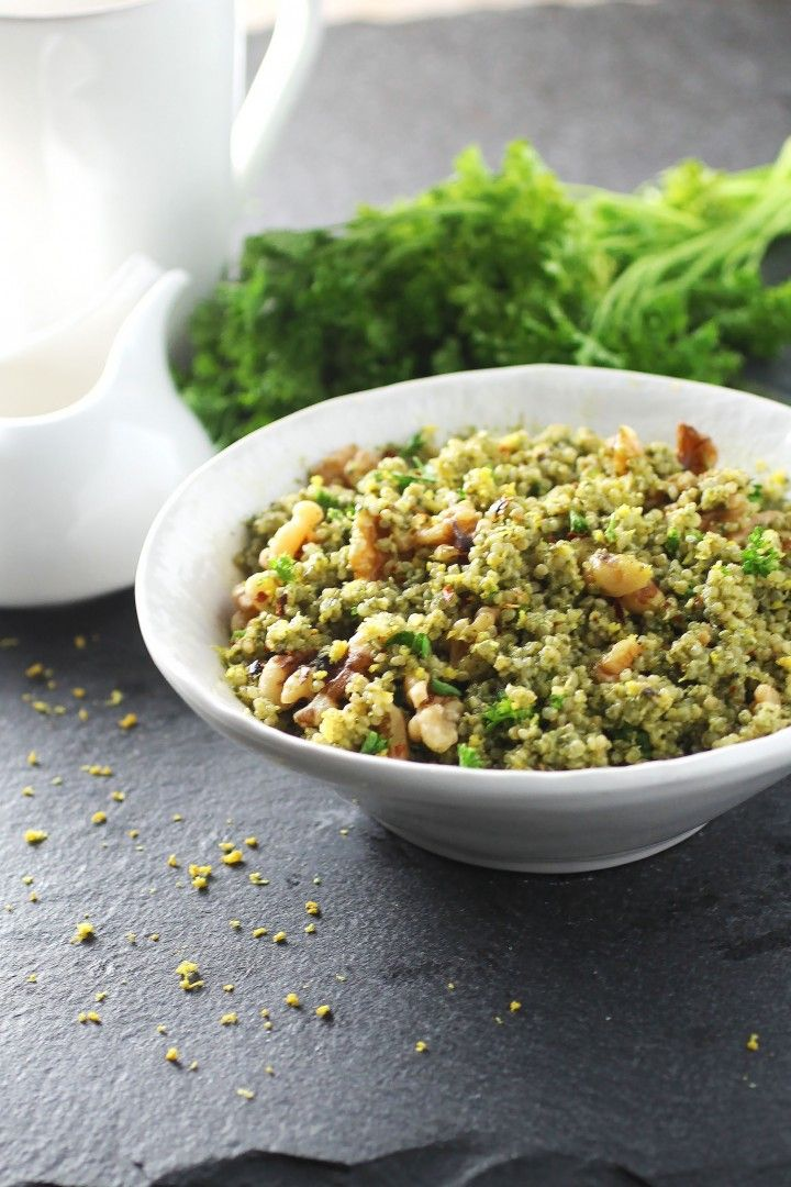 Spinach Pesto Quinoa Bowl - more for inspiration than the 'skinny pesto' recipe itself... #vegan #mains