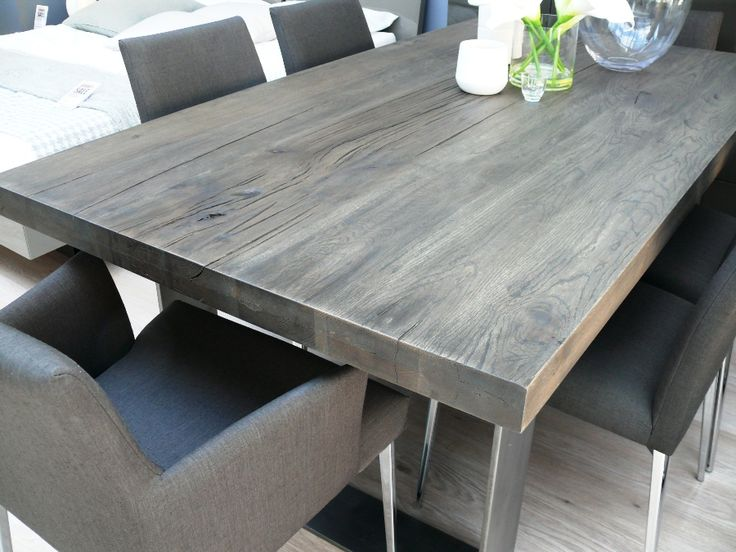 New Arrival Modena Wood Dining Table In Grey Wash Misty
