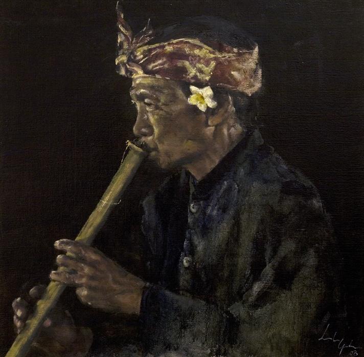 Leslie Goh, The Flautist - Sanur, Bali, Indonesia, Oil on Canvas 2008