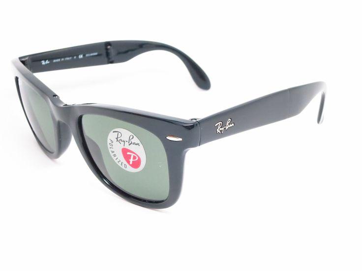 black polarized ray ban wayfarer of4p  Ray-Ban RB 4105 Folding Wayfarer 601/58 Black Polarized Sunglasses