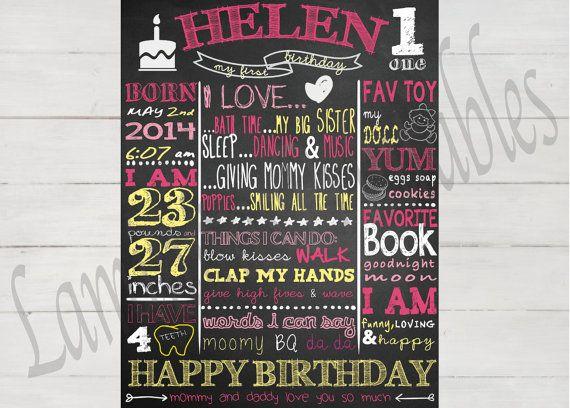 birthday poster first birthday 1st birthday by LaminitasPrintables