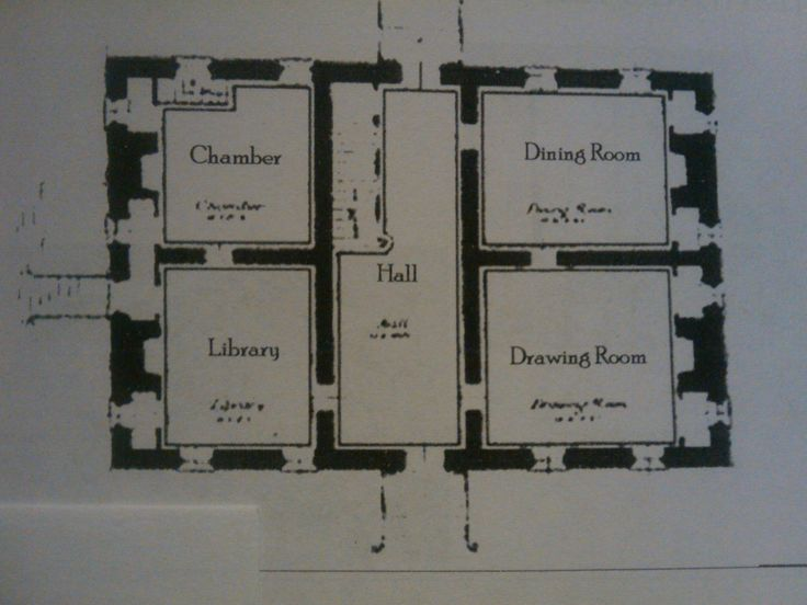 Double pile central passage house style from early for Historic house plans reproductions