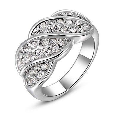 gyönyörű divat ékszerek ezüstözött, aranyozott strasszos gyűrű (egy darab) – USD $ 6.99