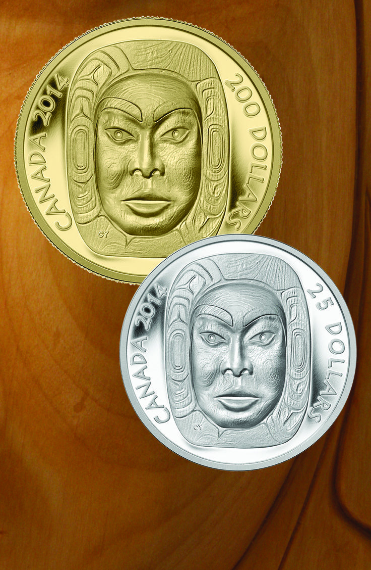 Pure Gold and Fine Silver Ultra-High Relief Coin - Matriarch Moon Mask (2014)