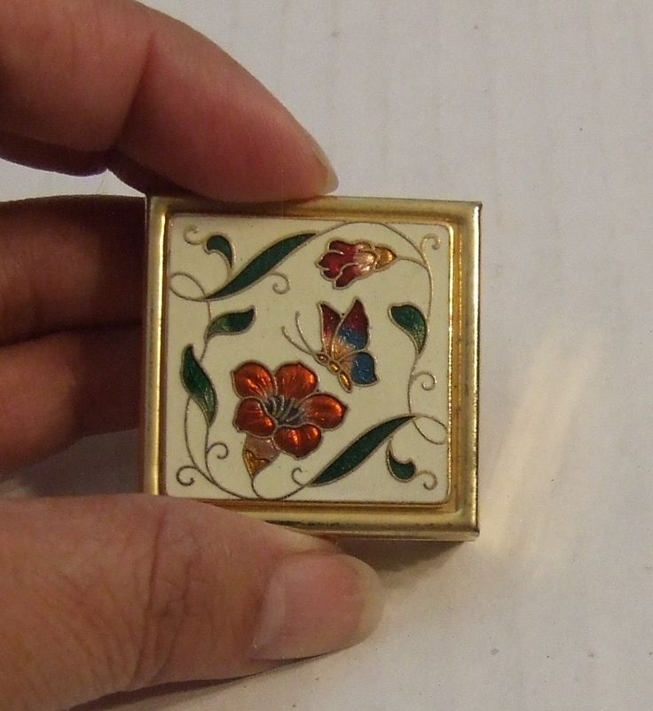 Vintage Pill Box, Pill Box, Floral Pill Box, Mirrored Pill Box, Metal Pill Box with Mirror, Beautiful Pill Box, Earring Holder, Gift for her by BeautyMeetsTheEye on Etsy