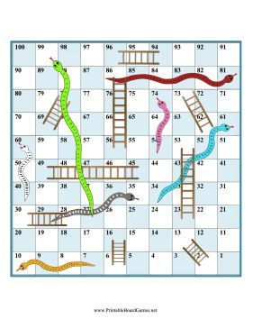 (PDF) Use a die and any game pieces you like for this printable board game of snakes and ladders, similar to chutes and ladders. If you land on the bottom of a ladder, go up, but if you land on the head of a snake, go down to the tail. FREE to download and print.