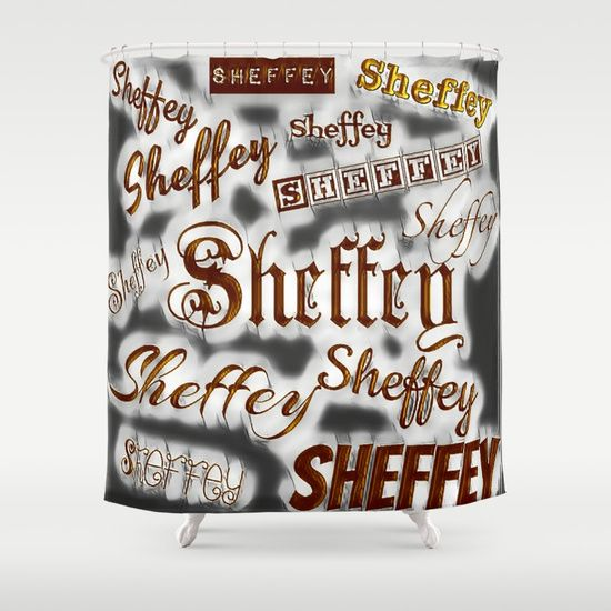 Beautifully designed Sheffey bathroom curtain making a fun backdrop for a Sheffey event.