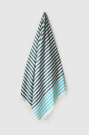 Sheker Candy Stripe Turkish Towel Petrol and Turquoise - $49 AUD