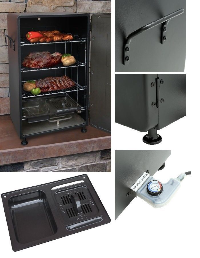 Electric Meat Smoker BBQ Grill Barbecue Outdoor Portable Cooker Patio Backyard #BBQSmokersCollection