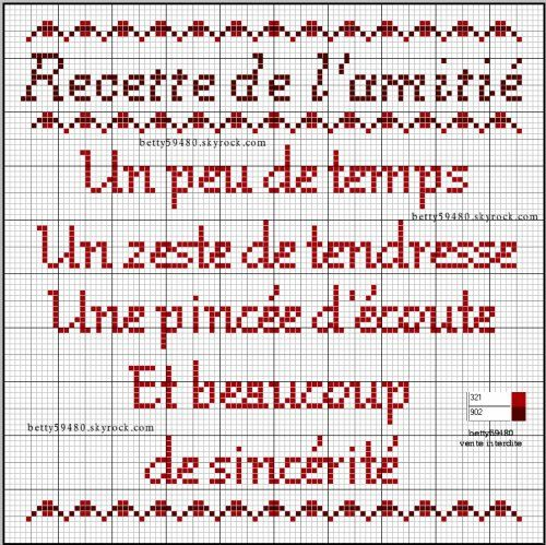 brodeuse - embroiderer - citation - amitié - point de croix - cross stitch - Blog : http://broderiemimie44.canalblog.com/