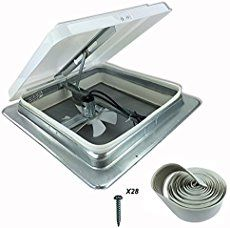 "HENG'S 14"" RV CAMPER TRAILER UNIVERSAL WHITE ROOF VENT W 12V 12 VOLT FAN 71112-C NO GARNISH RING INCLUDED"
