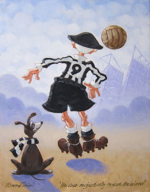 He Rose Majestically To Score The Winning Goal  Original Acrylic and Limited Edition Prints Available here in The North East Art Collective Eldon Garden Newcastle