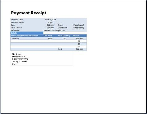 MS Excel Payment Receipt Template