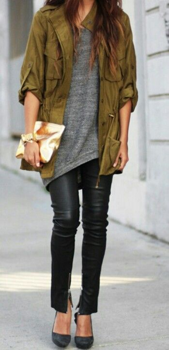 Nice. Green utility jacket, gray sweater/shirt, black leather jeans and black heels (or white converse)