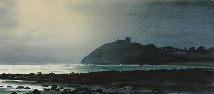 Cricieth after the storm, an original watercolour painting by Rob Piercy