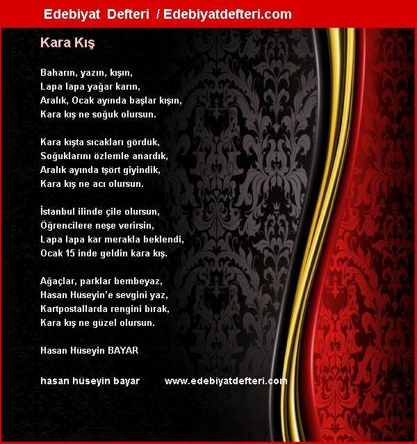 Kara Kış Şiiri Edebiyatdefteri.com sitesinde otomatik olarak oluşmuştur. Sizde şiirinizi otomatik e-kart yapın!