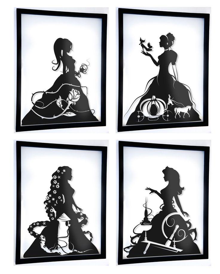 "Princesses 11""x14"" Handcut paper silhouettes."