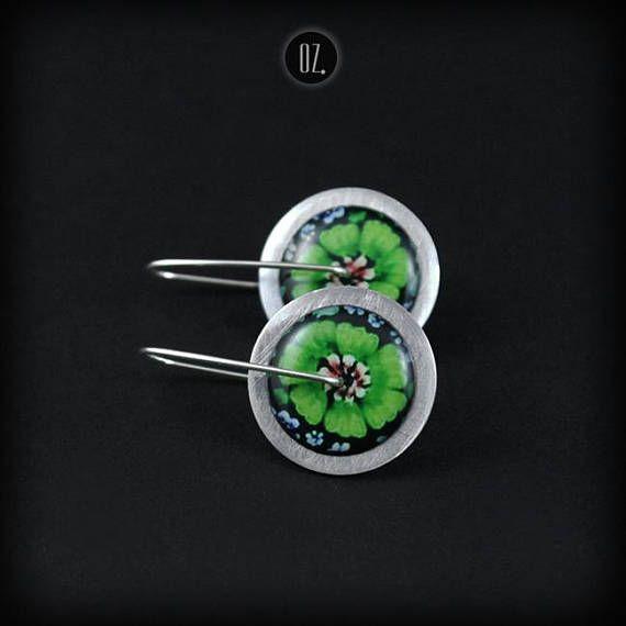 Short earrings Circles Greenman Flowers Mini 100% handmade