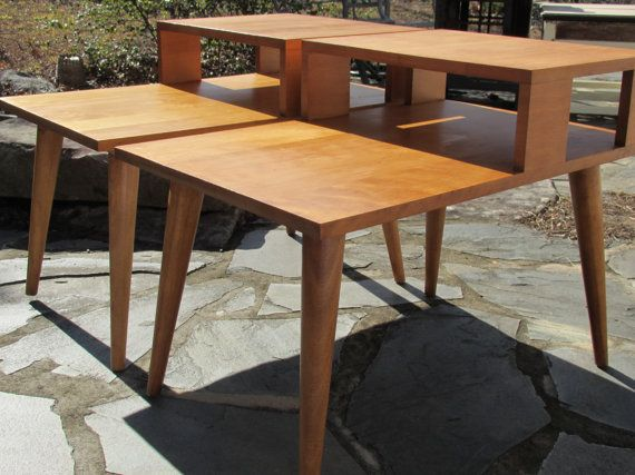 Pair Of Vintage MCM 1960s Conant Ball Modernmates Birch Tiered Step End  Side Tables Designer Leslie