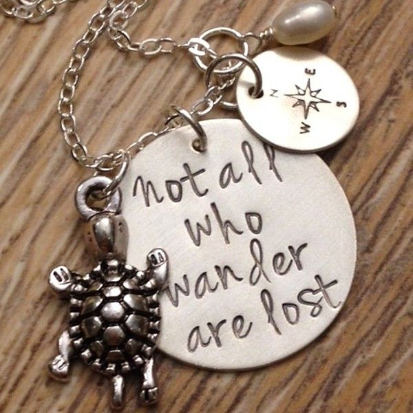 """Sterling Silver """"Not All Who Wander Are Lost"""" With charms necklace. #giftsforher #graduation"""