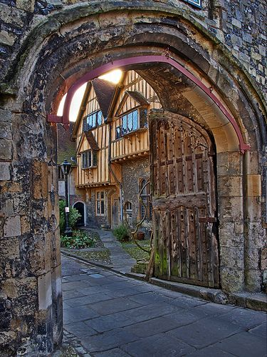 St Swithun's Gate is from the 15th century, Winchester, England, UK