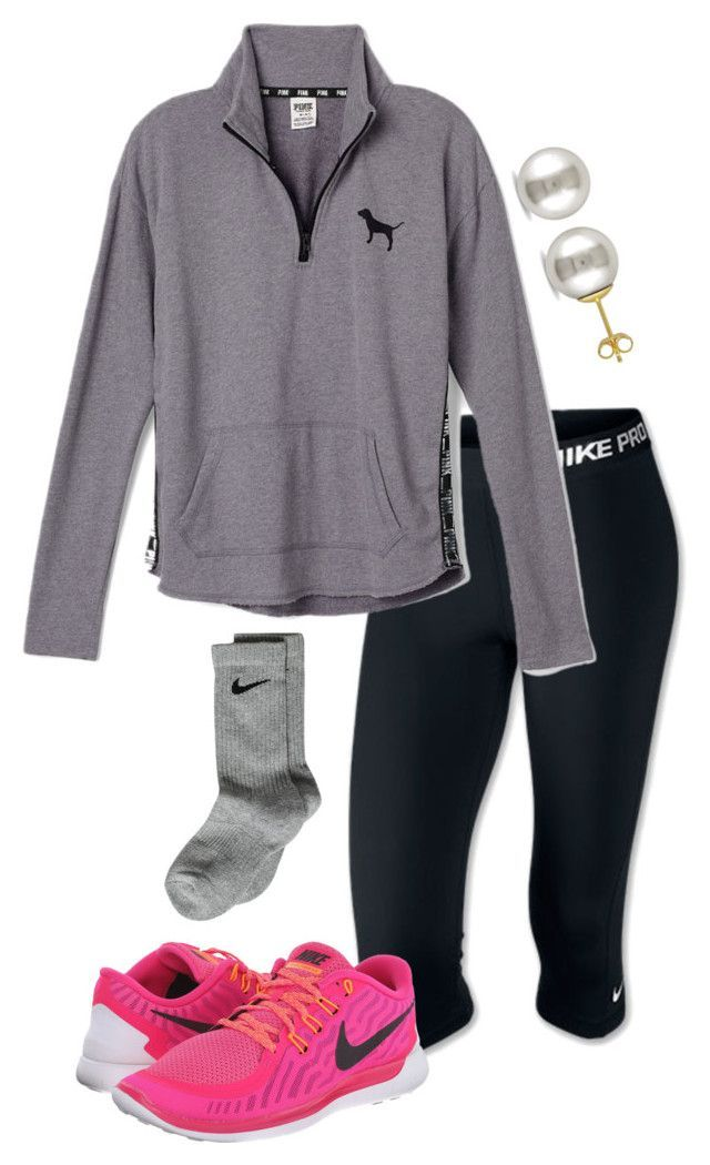 """Ootd "" by madelyn-abigail ❤ liked on Polyvore featuring NIKE, Victoria's Secret PINK and Miadora"
