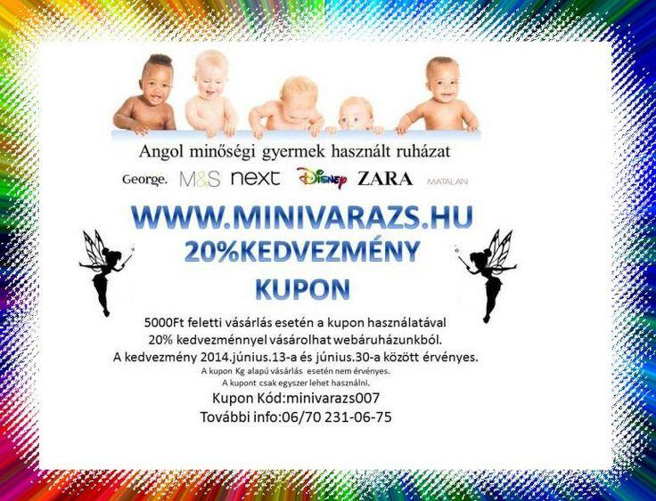 20% kedvezmeny kupon  Angol minőségi használt gyermekruházat,elérhető áron. http://www.minivarazs.hu/