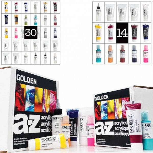 Learn Everything About Acrylics From A-Z! Exploring acrylics has never been easier with Golden Artist Color's A-Z Acrylic Sets. Each set contains the unique properties of Golden's Heavy Body Acrylics, Fluid Acrylics, High Flow Acrylics and OPEN Acrylics as well as a range of pastes, gels and mediums, and even self-guided exercises. Each comprehensive lesson utilizes the materials in the set while providing artists with an understanding of the materials and a foundation for inspiring t...