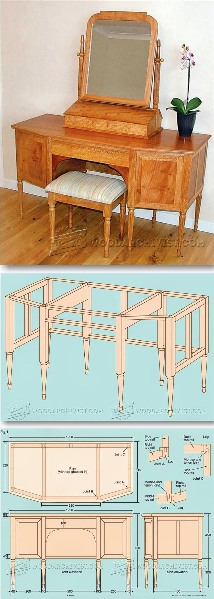 Dressing Table Plans - Furniture Plans and Projects | WoodArchivist.com