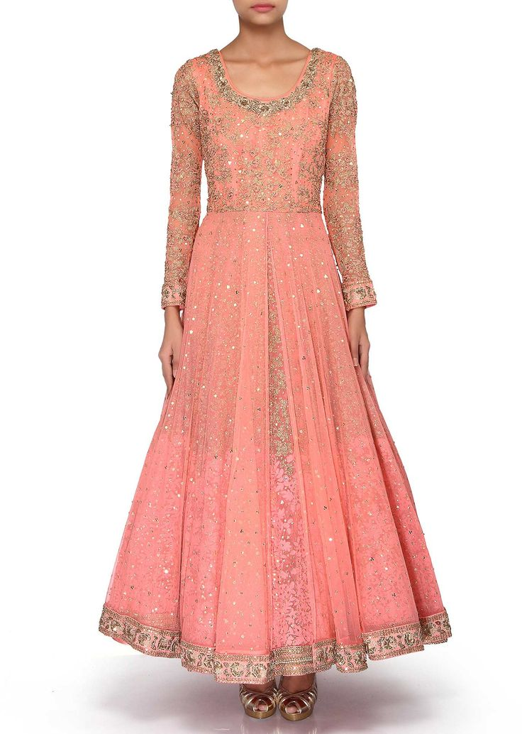 Pink anarkali suit adorn in sequin and zari embroidery only on Kalki
