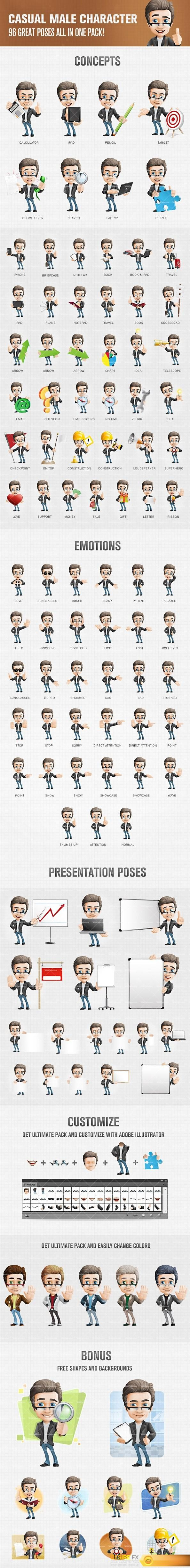 Male cartoon character dressed in casual style. We have designed the male cartoon character in 96 great poses and filled all of them with energy and life.  #Ai #EPS #PSD #Vectors #3D #Toons #Character #Tooncharacters #Designs  http://www.desirefx.me/casual-male-cartoon-character-with-glasses/