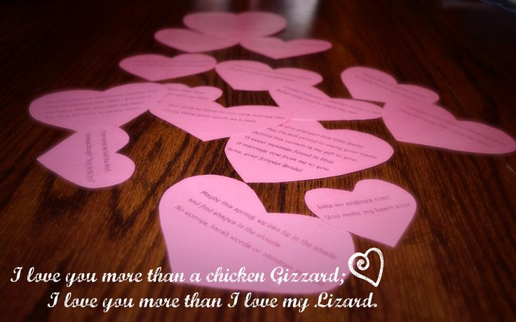 A Valentine/Anniversary Scavenger hunt for wedding bows  or a cute message<3