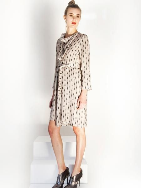 Elegant cowl neckline print mini dress