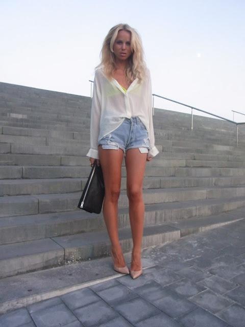 sheer top + neon bra + denim shorts = perfection