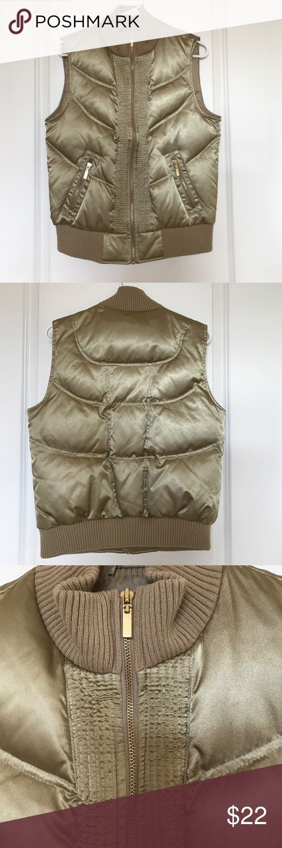 """Style & Co Sport gold vest Style & Co Sport gold metallic vest. Gold zipper detail. Great condition. Bust below arms measures 19"""". From shoulder to bottom hem measures 23"""". Style & Co Jackets & Coats Vests"""