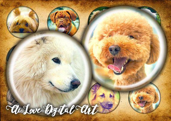 Instant download digital collage sheet Dog puppy bottlecap #1inchbottlecapimages #cabochondownload #digitalcollagesheets