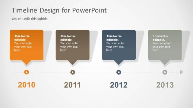 Awesome timeline PowerPoint template with four years for budget and forecast presentations but also for general timelines in PowerPoint