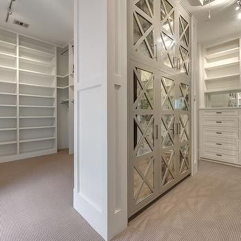Walk In Closet with Mirrored Cabinets, Transitional, Closet