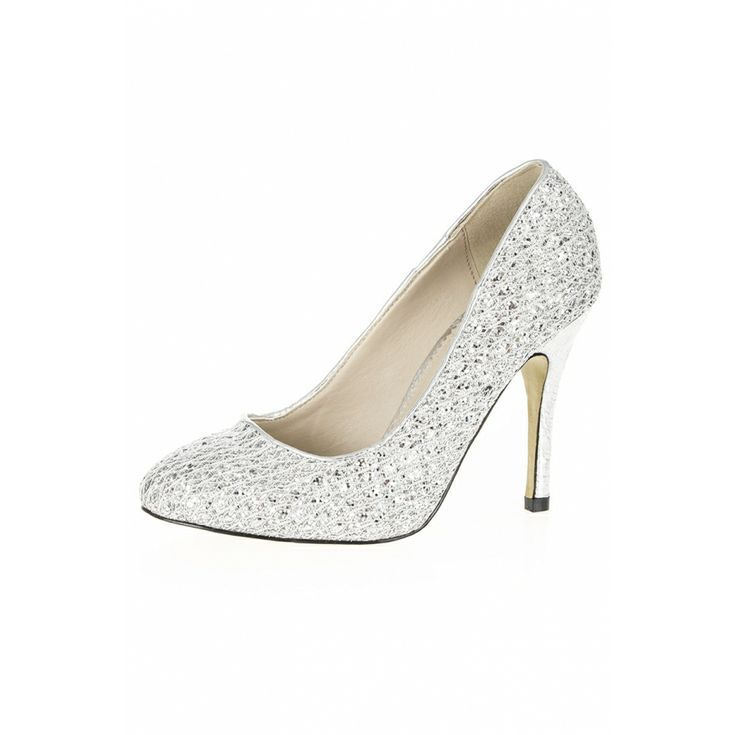 Silver Lace And Glitter Court Shoes