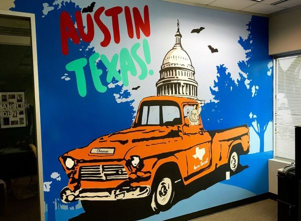 Austin Texas Mural By Zuzu Perkal At Private Residence Austin Mural Unique Wall Art Colorful Murals