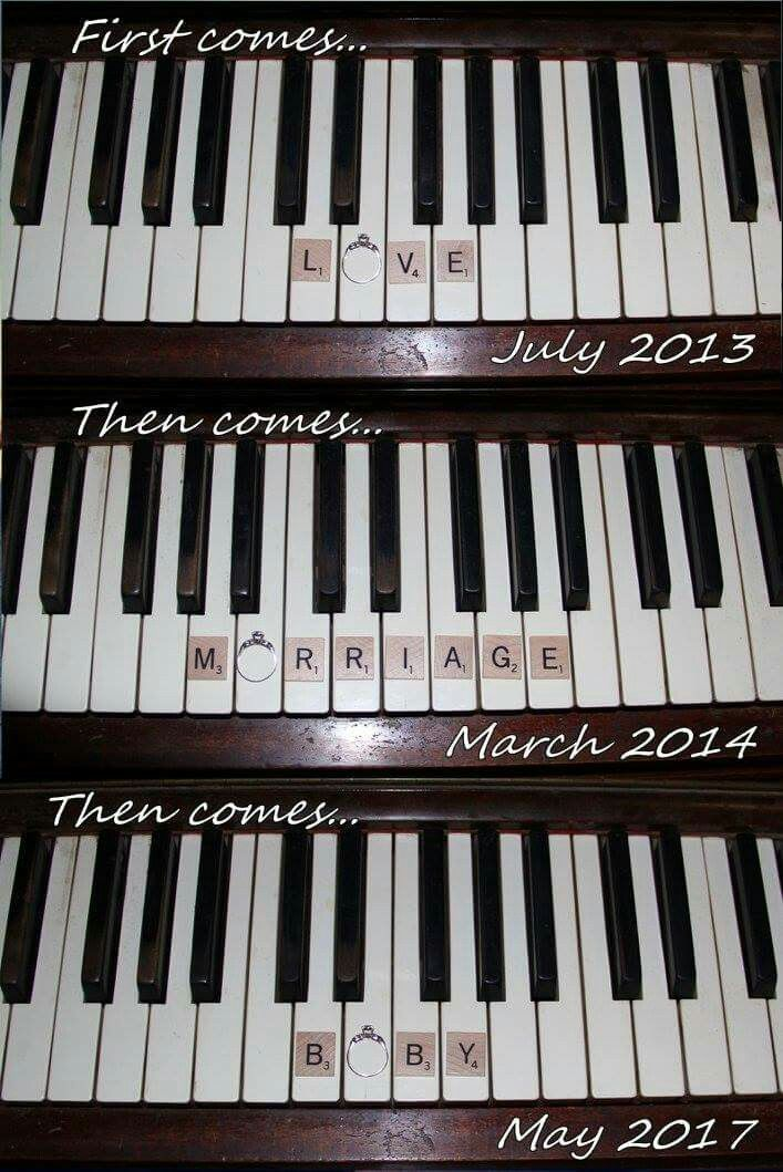 Maternity, pregnancy announcement, new baby, music,  keyboard
