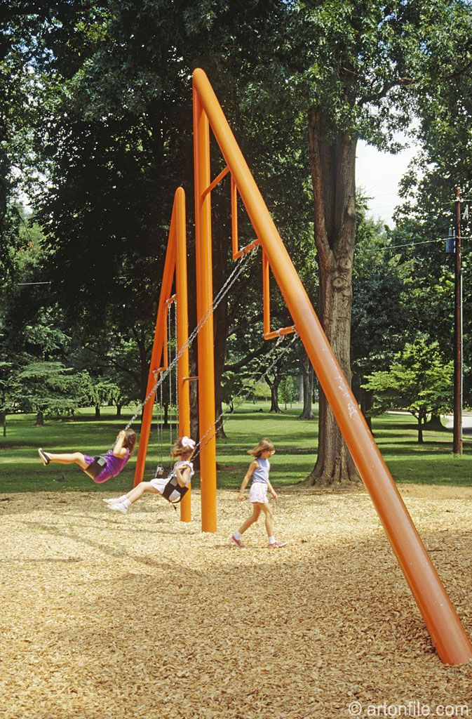 Playscapes, Piedmont Park  Atlanta, GA, USA  Artist: Isamu Noguchi (1904-1988)  red swing structure